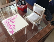 """Hand crafted table and chair for 10"""" to 12"""" dolls"""
