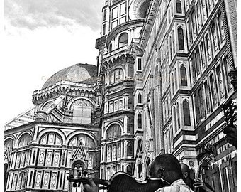 Florence Italy Photography, outside the Duomo in Florence, Duomo painted by Brunelleschi, Violinist