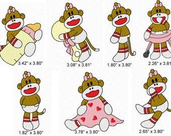 21 Baby Girl Sock Monkey Machine Embroidery Design Files 4x4 Set #1