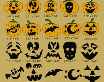 21 Halloween Pumpkin Faces Embroidery Design Files 4x4