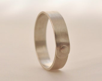 9) 5mm Brushed/satin Sterling Silver Rivet Ring