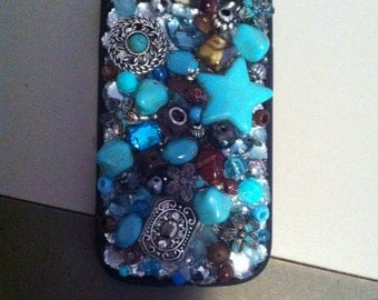Galaxy phone case with turquoise charms