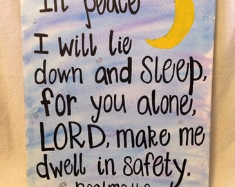 Psalm 4:8 Canvas