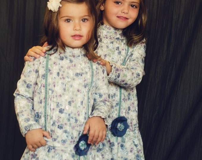 Green printed dress, Toddler dress, Girls dress,Dress for special occasion, Little fall dress, Traditional Girls dress, Liberty girls dress