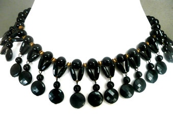 Vintage Black Bead and Brass Necklace