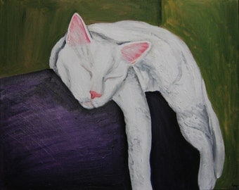 White cat sleeping