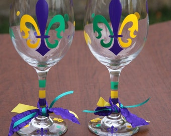 Mardi Gras Fleur de Lis Wine Glasses or Coffee Mugs