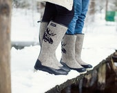long top felt boots for women embroidered with MOOSE valenki winter shoes woman winter boots natural wool felt design