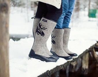 Grey Valenki Boots Women Felted Wool Boots Grey Winter Felt Shoes Embroidered Boots Moose Warm Felt Shoes Valenki Knee High Boots Grey Boots