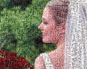 Photo Mosaic created custom from hundreds or thousands of photos from Wedding Photos or any personal photos