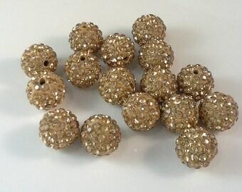 10 pcs 12 mm Shamballa Beads Shamballa  Bracelet Shamballa Pendants Paved Crystal gold