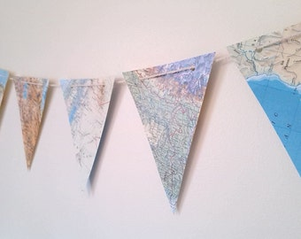 Map Garland Paper Bunting Banner ~ 14 Flags / Pennants ~ Party Decor Travel Bon Voyage Decoration World Map