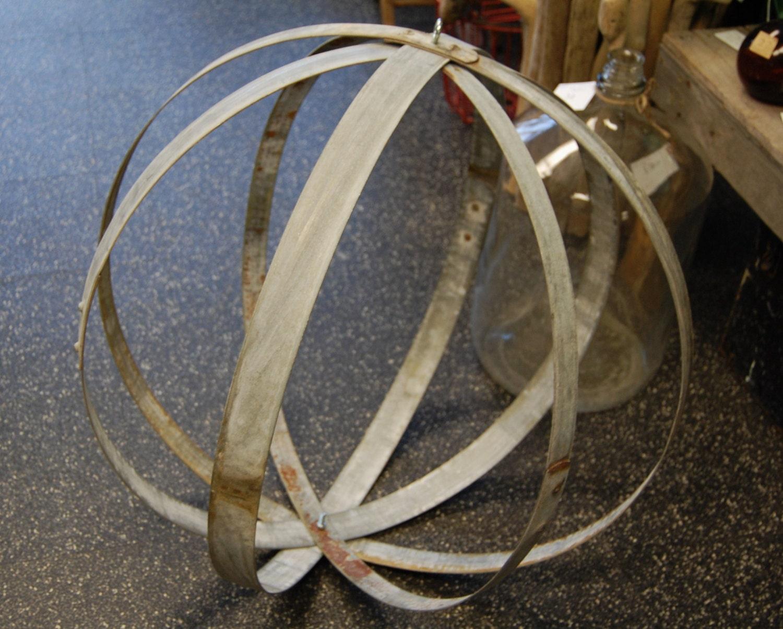 Large Industrial Metal Wine Barrel Hoop Orb Orbical Globe