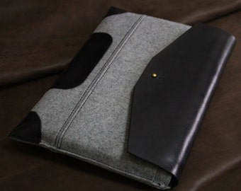 "MacBook 13"" PRO case -Black Leather laptop sleeve-wool felt leather-macbook briefcase"