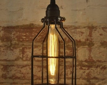Metal Bulb Guard Lamp Light Cage Pendant Hanging Vintage Cage