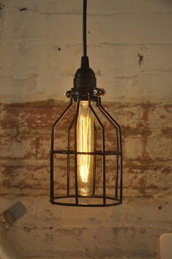 metal bulb guard lamp light cage pendant hanging by wiresnjars. Black Bedroom Furniture Sets. Home Design Ideas