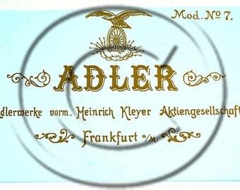 Adler 7 Typewriter Water Slide Decal