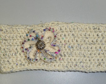 WHITE SPARKLE ear warmer with a white multi color sparkled edge