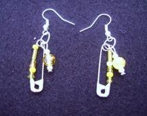 Yellow Safety Pin Earrings