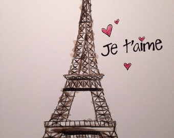Je t'aime ink & watercolor