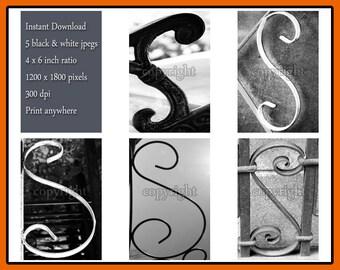 Letter S alphabet photography instant download of 5 different jpeg images - DIY letter photo framed names - scrapbooking alphabet photos