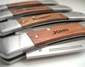 Engraved Knife - Wood Handle Pocket Knife – Personalized Groomsmen Gift - Monogrammed Engraved Pocket Knife -Wedding Party Gift