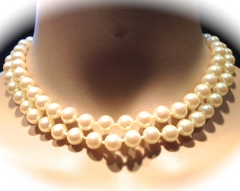 12 Ivory Japanese Pearls Necklaces