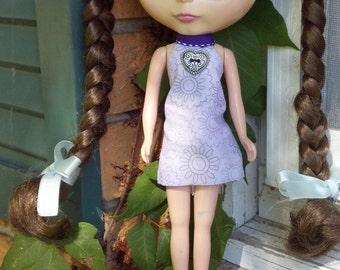 Purple Argyle & Floral Print Reversible Dress for Blythe