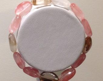 Bracelet. 18cm.  Strawberry tiger synthetic quartz