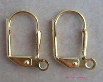 50 gold plated leverback ear wires with shield