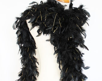 "65g, 72"" black w/ gold tinsel chandelle feather boa for decor, bacheloratte party, wedding, etc. SKU: 8G32"