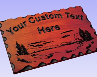 Personalized Custom Carved Redwood Wood Sign - Rustic Plaque Last Name Address Home Decor