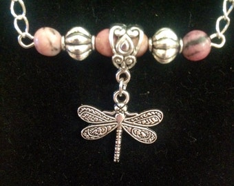 Dragonfly with Rhodonite Silver Necklace-on Sale!