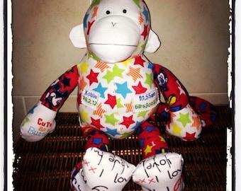 Monkey Keepsake teddy made from precious baby clothes