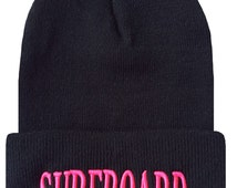 SURFBOARD 3D Cuffed Beanie Hat Hip Hip Beanies Cap Black/Hot Pink