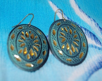 Emerald Green and Gold Toned Vintage Metal Medallion Hook Earrings
