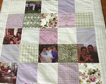 Mother's Day gift.gift for mom.gift for grandma.Family Blanket, Family Photo Quilt, Custom Memory Quilt. Family Photo Gift.lifetime memories