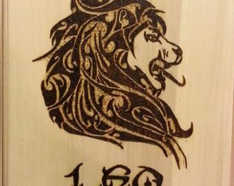 Woodburning - Leo Tribal Astrology  Sign