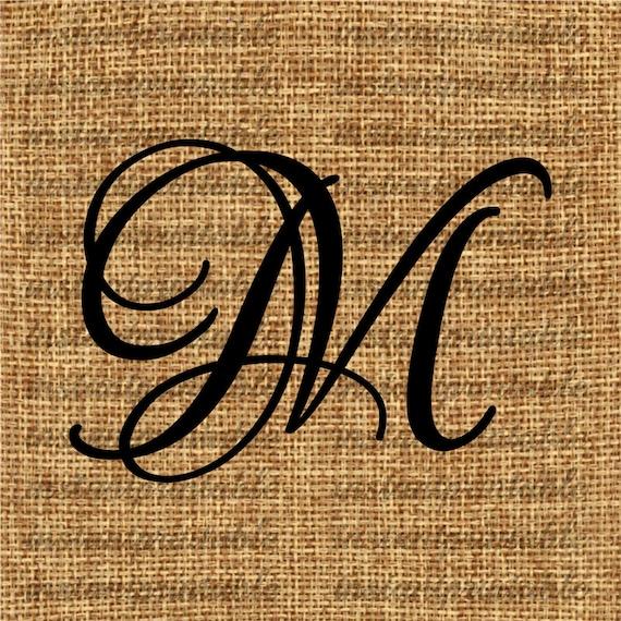 Monogram Initial Letter M Clip Art Decal