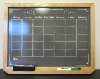 custom black chalkboard style calendar dry erase board whiteboard wood frame changeable graphic