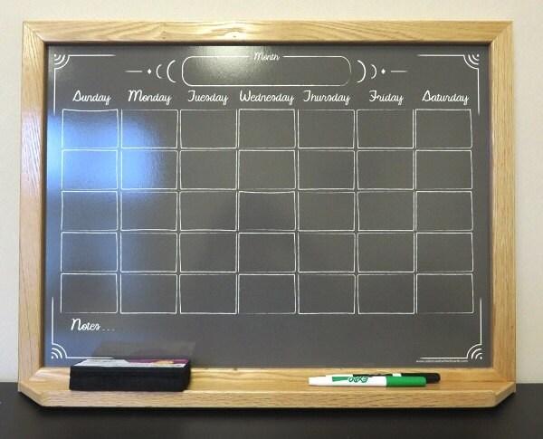 Custom Black Chalkboard Style Calendar Dry Erase