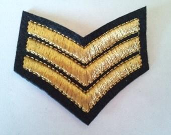 Captain Sergent Shoulder Stripe Chevron Military Army Gold Black applique iron on patch