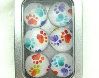 Set of Six Magnets Pretty Multicolored Paw Prints in Tin Box