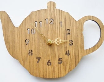 Laser cut clock, wooden clock, tea pot clock