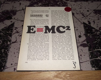 Albert Einsteins E=MC2,Typographic print, on vintage dictionary page, wall art, home decor, wall decor, gift idea, book page art, maths gift