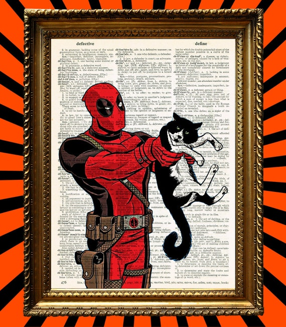 Deadpool Faces his Most Dangerous Adversary Yet... An Ornery Harlequin Cat Awesome Upcycled Vintage Dictionary Page Book Art Print 8x10