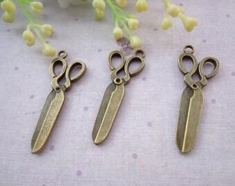 SALE--50 PCS 39x15mm Lovely Scissors Charm Pendant --Antique Bronze