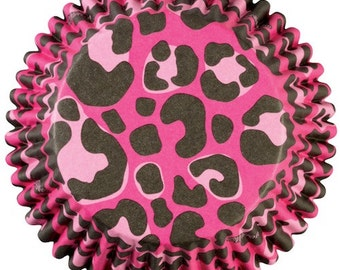 Pink Leopard ColorCups Wilton Greaseproof Cupcake Liners Baking Cups Muffin Cups - pink cupcake liners - leopard cupcake liners
