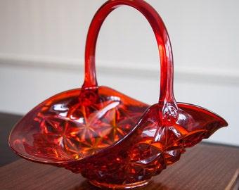glass basket; glass amberina basket; orange glass basket