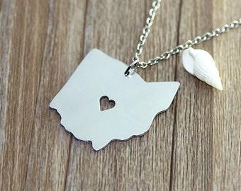 I heart Ohio Necklace - Ohio Pendant - State Necklace - State Charm - Map necklace - Map Jewelry Necklace